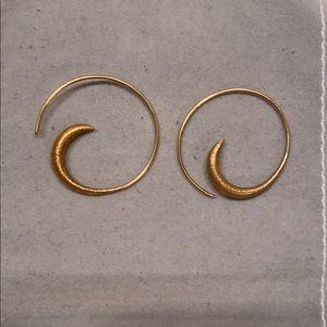 Gold hoop and design earrings